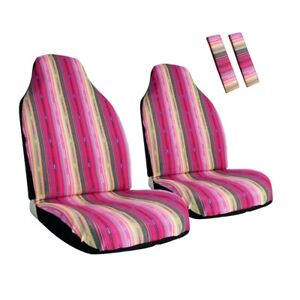Front Car Seat Covers Pink Stripe Colorful Baja Seat Protector Universal Fit