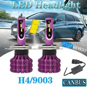 Csp H4 Led Headlight Kit 4 sides Bulb Hi lo 6500k 9003 Hb2 2500w 375000lm Canbus