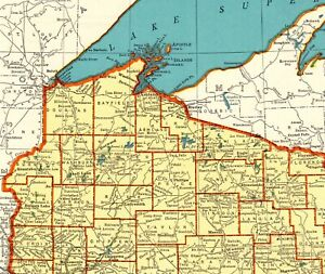 1942 Antique Wisconsin State Map Vintage Map Of Wisconsin Gallery Wall Art 8200