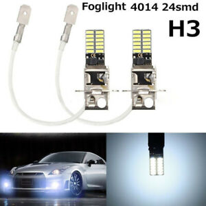 2pcs H3 Led Fog Light Headlight Bulbs Car Driving Lamp Kit Drl White High Power