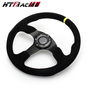 Universal Racing Sport Steering Wheel 14 Inch 350mm Suede Leather Flat With Horn