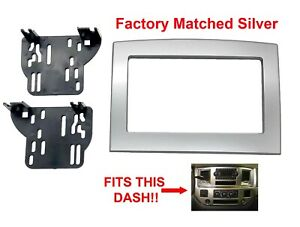 Silver Double Din Dash Kit Truck Car Stereo Radio Install Fits Dodge Ram 06 10