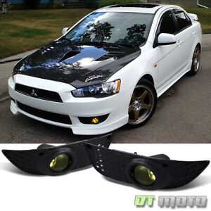 2008 2014 Mitsubishi Lancer Yellow Bumper Fog Lights Lamps W Switch Left right