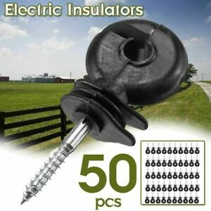 50x 9cm Ring Insulators Screw Electric Fence Poly Wire Offset Posts Wire Set