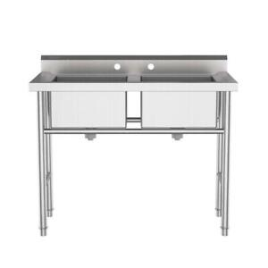 Kitchen commercial Sinks Large Capacity With Adjustable Feet 2compartments