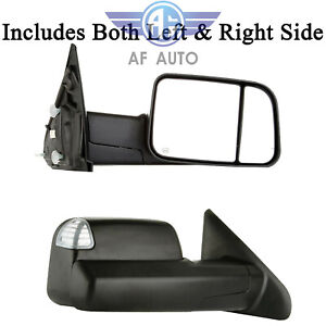 Black Power Heated Towing Mirrors For 2009 2015 Dodge Ram 1500 2500 3500 Pickup