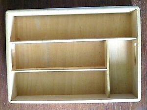 Solid Wood 4 Section Utensil Organizer Kitchen Office Desk Crafts 14x10x2 Euc