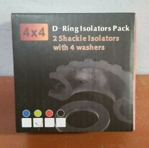 4 X 4 D ring Isolators Pack 2 Shackle Isolators With 4 Washers Green