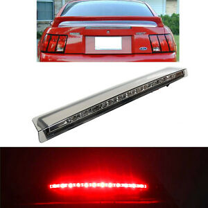 Chrome Housing Smoke Lens Rear Led Third 3rd Brake Light For 99 04 Ford Mustang