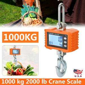 Crane Scale 1000 Kg 2000 Lb Digital Industrial Hanging Weight Scale Lcd Display