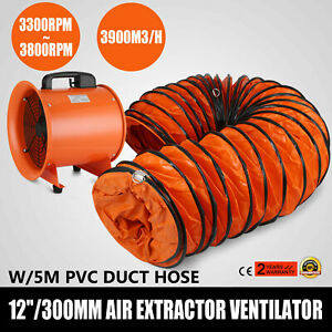 12 Electric Extractor Fan Blower Portable Ventilator Utility Air Mover 5m Hose