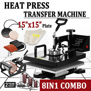 8 In 1 15 X15 Digital Heat Press Machine Sublimation For T shirt Mug Plate Hat