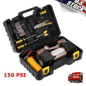 12v 150psi Double Cylinder Air Pump Compressor Heavy Duty Car Auto Tire Inflator
