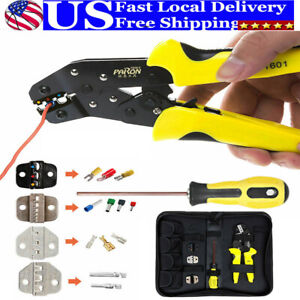 4 In 1 Insulated Cable Connectors Crimping Crimper Ratcheting Wire Tool Terminal