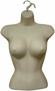 2 X Female Large Breast Dress Form Mannequin Hard Plastic W Hook For Hanging