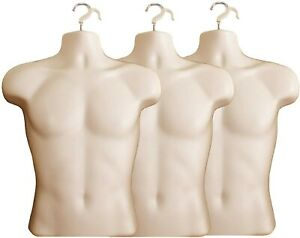 3 X Male Dress Form Mannequin Hard Plastic W Hook For Hanging 158f