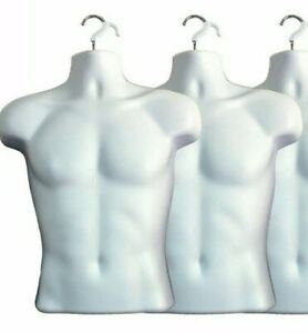 2 X White Male Dress Form Mannequin Hard Plastic W Hook For Hanging 158w