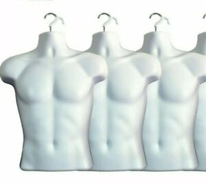 3 X White Male Dress Form Mannequin Hard Plastic W Hook For Hanging 158w