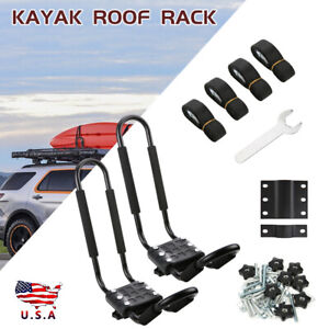 2x Boat Kayak Canoe Roof Rack Top Mount Carrier J Bar Surf Car Truck Crossbar Us