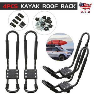 4x Boat Kayak Canoe Roof Rack Car Truck Top Mount Carrier J Cross Bar Surf Board