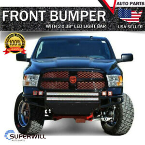 Black Off Road Bumper W 2 X 38 Led Light Bars For 2002 2007 Dodge Ram 1500