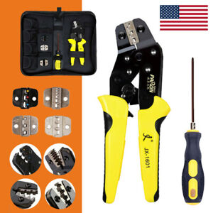 Insulated Wire Terminals Connector Ratcheting Crimper Crimping Tool Kit 24 10awg