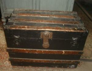 Antique Small Wood Child S Traveling Trunk Victorian Flat Top W Slats