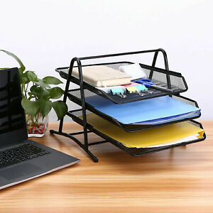 3 Tier Mesh Document Tray Letter Paper Trays Desk Tidy Metal Organiser Us Ship