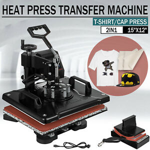 12 X 15 Heat Press Machine Digital Transfer Sublimation T shirt Cap Hat 2 In 1
