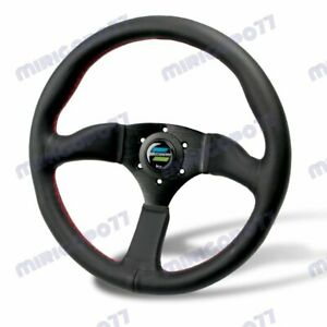 For Universal 350mm 14 Spoon Sport Style Deep Dish Leather Steering Wheel Honda