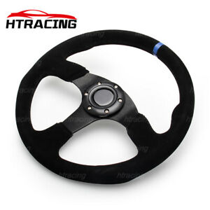 Classic Blue Steering Wheel 14inch 350mm Sport Suede Leather Flat With Horn