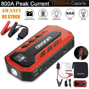 800a Peak 12v Car Jump Starter Booster Battery Charger Usb Power Bank 12000mah