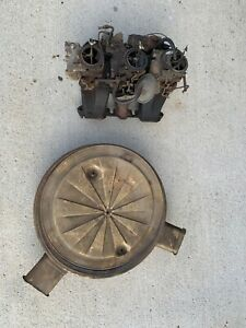1958 Cadillac Tri power Intake Complete Carbs Six Pack With Air Cleaner