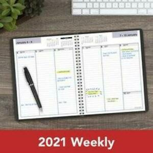 At a glance 2021 Dayminder Column style Weekly Planner Black 6x8 75 g590 00