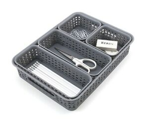Advantus 5 piece Woven style Plastic Desk Organizer Bins Set In Grey