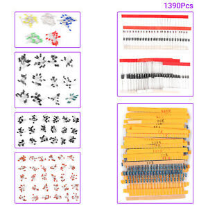 1390pcs Electronic Components Led Diode Transistor Capacitor Resistance Kit O7i9