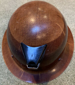Vintage Msa Skullgard Hard Hat Suspension Light Fiberglass Tan Full Brim Labels