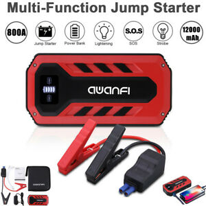 800a 12000mah Car Jump Starter Battery Booster Charger Power Bank Rescue Pack Us