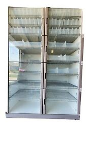 8 Door Steel Storage Cabinet Clear Acrylic Doors Lighted Inside And On Wheels