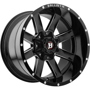 4 22x12 Black Wheel Ballistic Rage 961 6x135 6x5 5 50