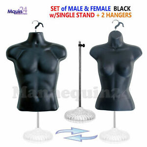 Male Female Mannequin Torso Dress Body Forms Set Black 1 Stand 2 Hangers