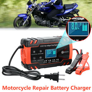 For Car Atv Motorcycle Lead Pulse Repair Battery Charger 6 150ah Lcd Automatic