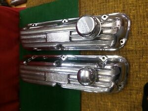 Set Of Vintage Ford 302 351 Cast Aluminium Chrome Plated Valve Covers
