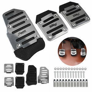 3pc Silver Non slip Car Manual Transmission Pedal Cover Brake Clutch Accelerator