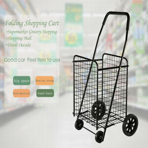 Large capacity Black Supermarket Shopping Cart Folding Shopping Cart Wheels