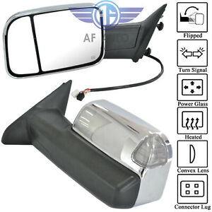 Set For 09 15 Dodge Ram 1500 2500 3500 Pickup Chrome Power Heated Towing Mirrors
