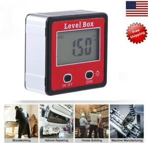 Digital Lcd Inclinometer Spirit Level Box Protractor Angle Finder Gauge Meter Us