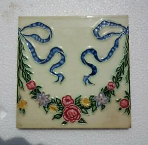 Old Vintage Rare Art Nouveau Majolica Ceramic Tiles Made In Japan 1 Pc 6x6 Inch