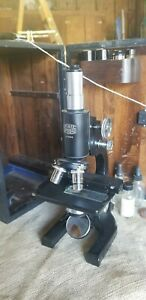 Vintage Old Antique American Optical Ao Spencer Microscope W Case Lenses Tools