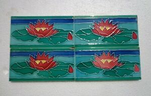 Old Vintage Rare Art Nouveau Majolica Ceramic Tiles Made In Japan 4 Pc 6x3 Inch